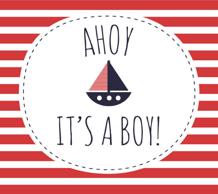 Baby Shower downloadable Invitations - Ahoy! It's a Boy!