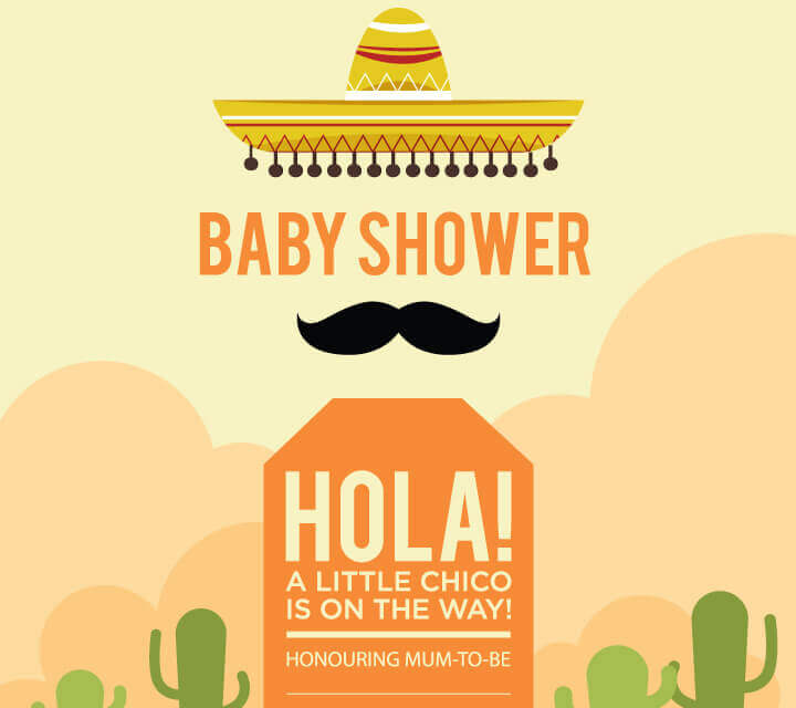 Baby Shower downloadable Invitations - Mexican moustaches