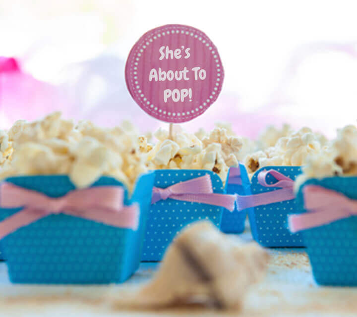 """Baby Shower Favours - """"She's About to Pop"""" Popcorn Packs"""