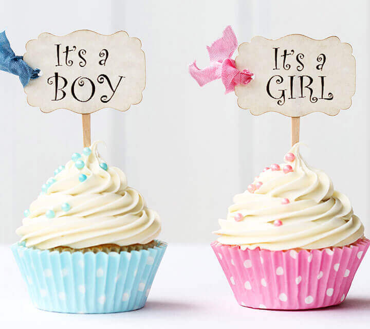 Baby Shower Decorations - It's a boy, It's a girl Cupcake Toppers