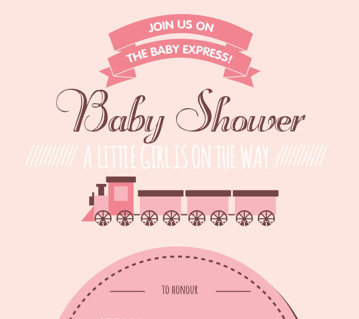 Baby Shower downloadable Invitations - Choo Choo ... A Girl is Due!