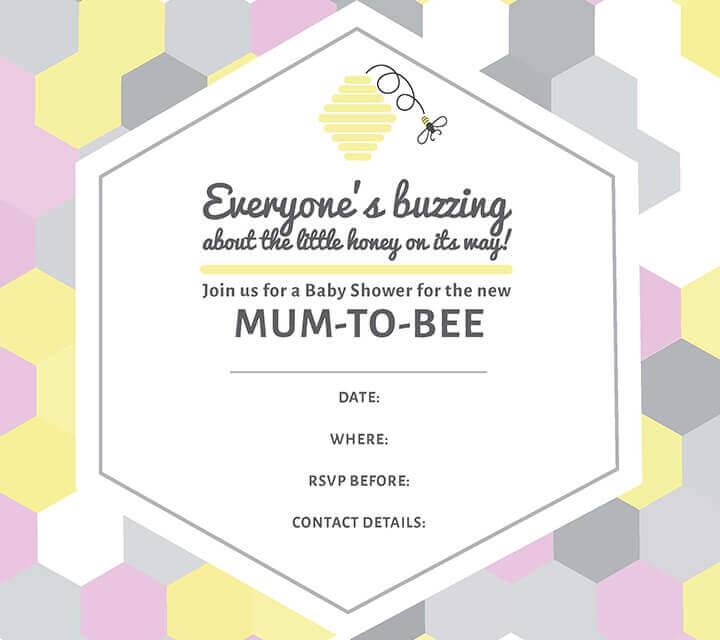 Baby Shower downloadable Invitations - Come and join the Mum-to-Bee!