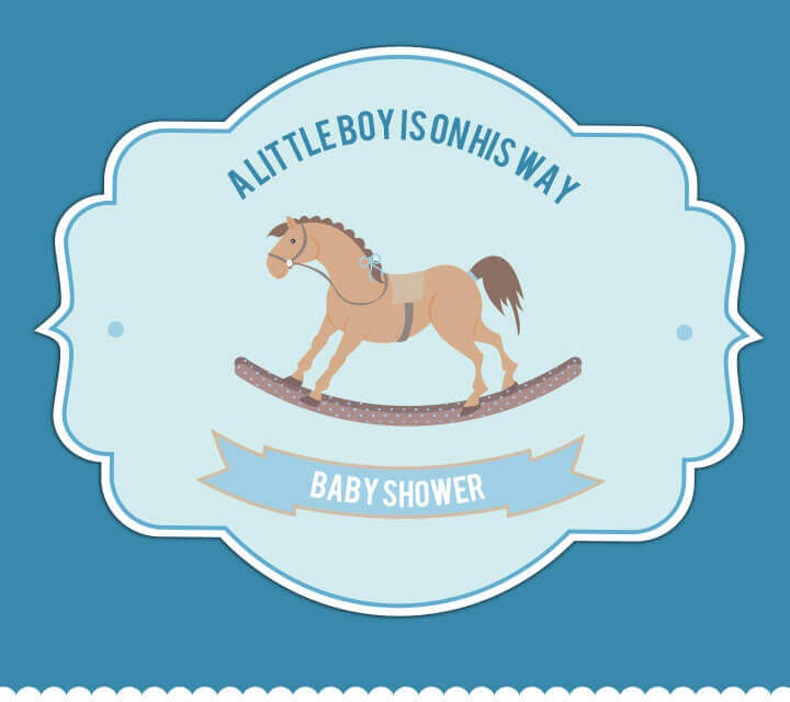 Baby Shower downloadable Invitations - Baby boy due!