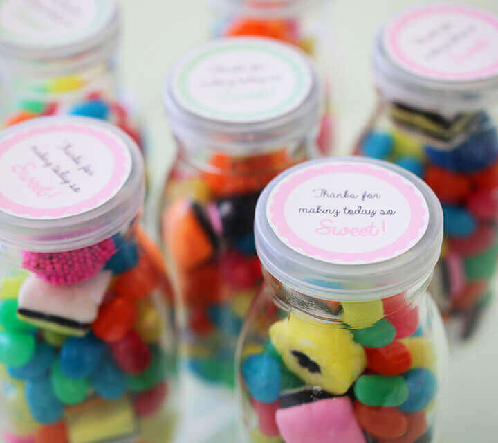 Baby Shower Favours - Colourful lolly jars