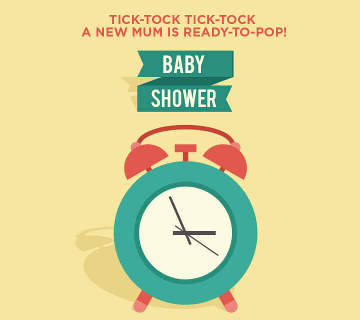 Baby Shower downloadable Invitations - Tick tock ready to pop!