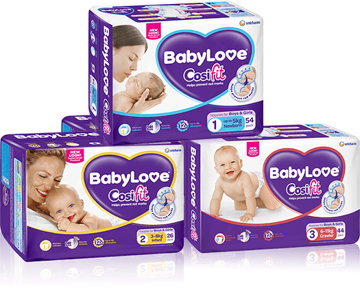 BabyLove Cosifit Nappies pack shots