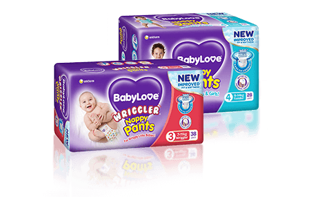 BabyLove Nappy Pants products pack shots